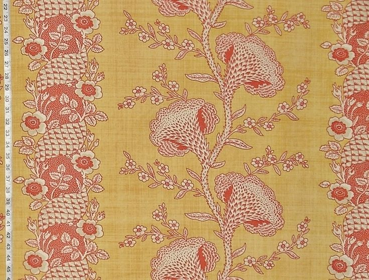 Yellow gold orange toile fabric colonial coxcomb flower stripe