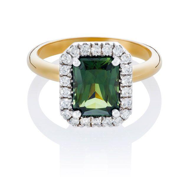 Green sapphire & diamond ring - Stones Diamonds