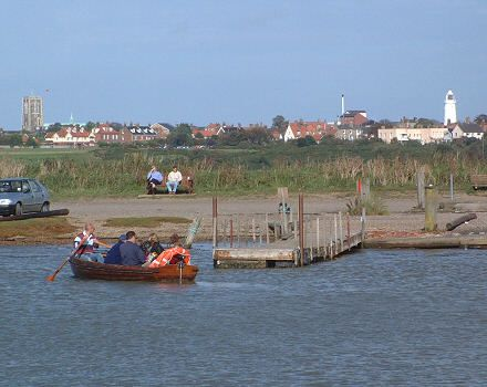 The ferry in action crossing the River Blyth, with Southwold in the background.