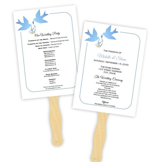 Wedding Program Fan Template   Blue Doves Silhouette   DIY Printable  Program   Instant Download   Microsoft Word File   Editable Template