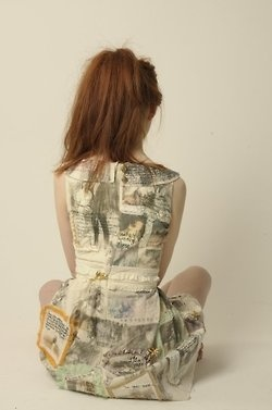Narrative Dress  -tells the story of my Mother and Fathers relationship.  -a comically dysfunctional but undeniably charming romance.  -potential for an embroidered Alice Book.  -Embroidery, Aplique, and Image transfer.