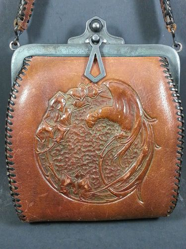 Antique Tooled Leather Purse Jemco Arts Crafts 5 1 4 X 6 Pretty Cond Ebay Vintage Handbags Pinterest
