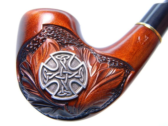 Wooden Tobacco Smoking pipe Celtic Cross Great Celtic by ArtyStore, $26.99