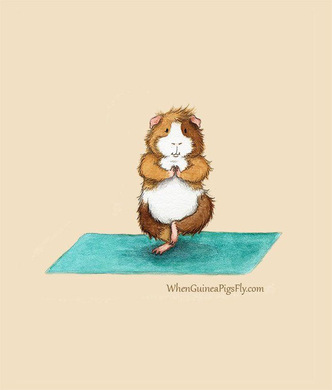 Guinea Pig Yoga (Tree Pose) Art Print