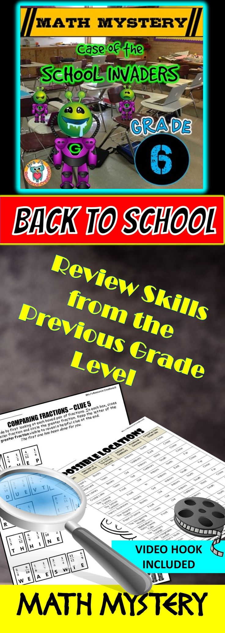 Back to School Math Mystery: Case of The School Invaders. Sixth Grade Edition.