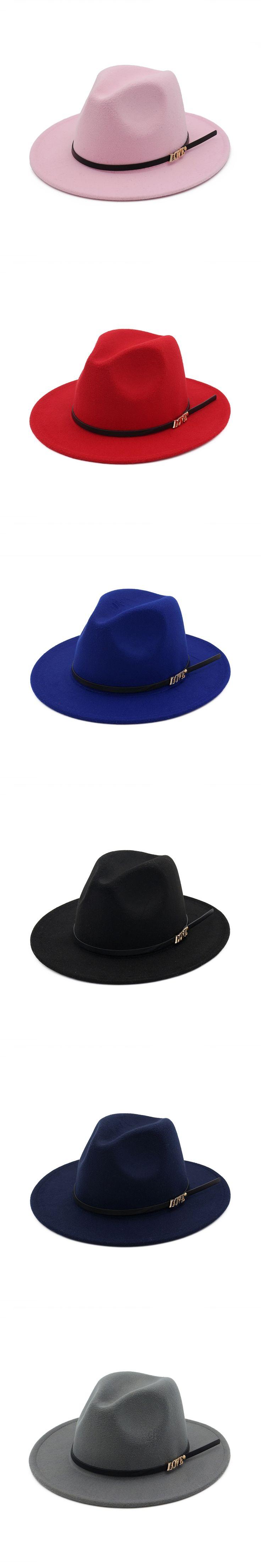 Original Unisex Structured Wool Fedora Hat For Men Lover Letter Female Woolen Women Jazz Hat