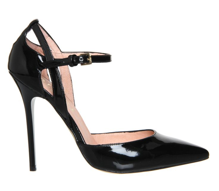 Office Pierce Ankle Strap Detail Point Court Black Patent - High Heels