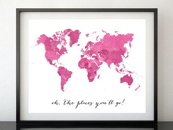 Printable World Map With Countries And Names Distressed Vintage Texture Print Travel Art