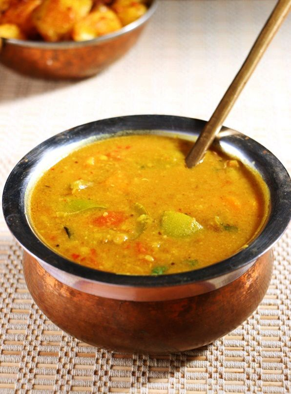 Sambar recipe, south Indian style samar with vegetables and fresh spice powder.