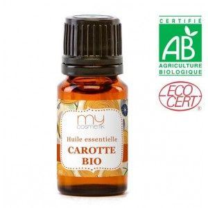 H.E  Carotte BIO   -  Propriétés de l'huile essentielle de carotte: Régénératrice de la cellule hépatique, drainante rénale. Elle peut agir sur le cholestérol. Elle est aussi anticoagulante.  L'huile essentielle de carotte est excellente pour les soins cutanés. Elle contracte et tonifie les tissus, élimine les bactéries et améliore l'élasticité de la peau.    Recommandations : Couperose, eczéma, dartres, taches pigmentaires.
