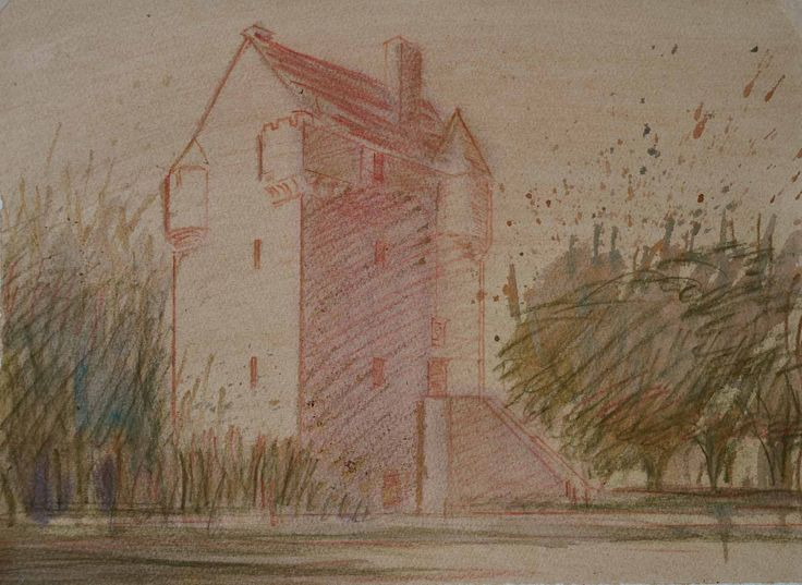Coxton Tower, Elgin, watercolour on paper, 15 x 11 inches