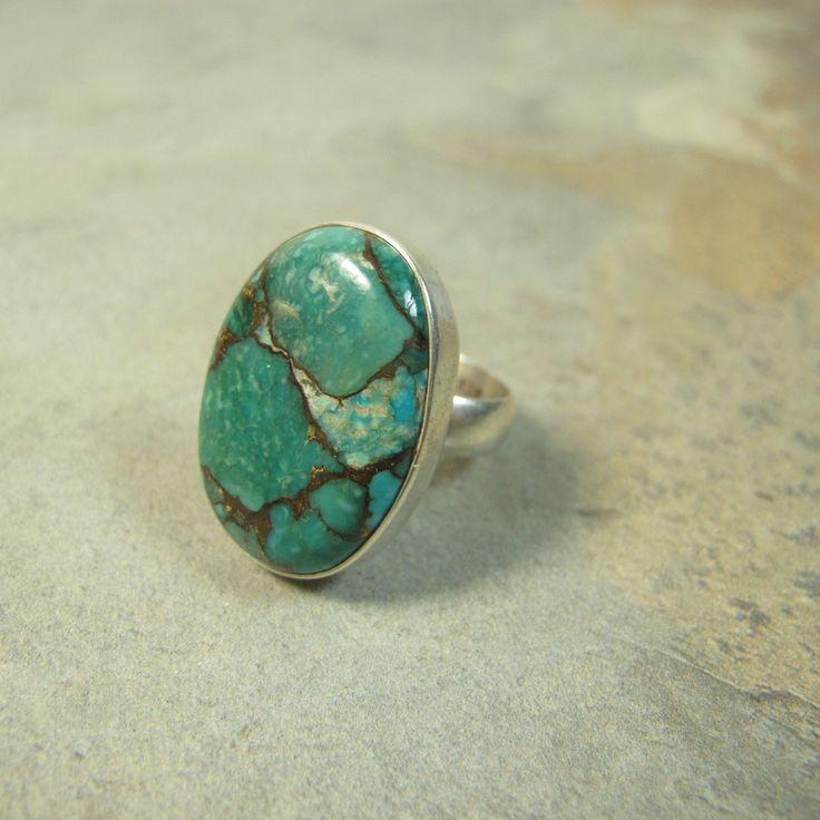 Grosse bague en argent et turquoise
