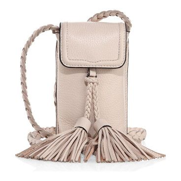 """On SALE at 30% OFF! isobel leather smartphone crossbody bag by Rebecca Minkoff. Petite phone pouch with braided strap and tassel detail. Crossbody strap, 22"""" drop. Magnetic snap-flap closure. Gunme..."""