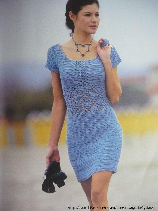 Blue Dress free crochet graph pattern