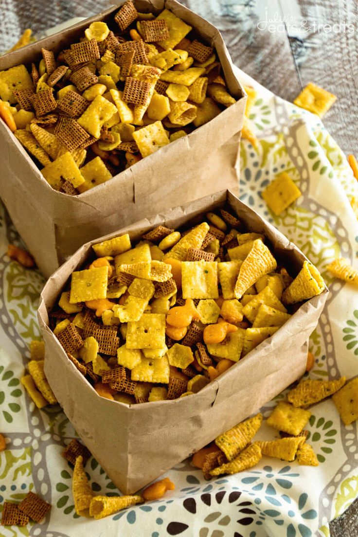 Ranch Snack Mix Recipe ~ Delicious, Easy, Homemade Snack Mix Loaded with Chex, Bugles, Goldfish and Oyster Crackers then Seasoned with Ranch Dressing Mix! ~ http://www.julieseatsandtreats.com