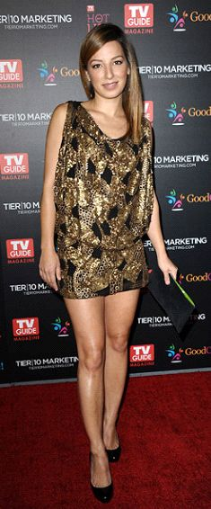 Throwback Tuesday! Vanessa Lengies in sold out style D1102SQ in Matte Gold at the 2011 TV Guide Magazine Hot List Party! Check out styles D1851SQ and D1854SQ in fuchsia or pink for a similar shimmery look @ alexiaadmor.com ! (: