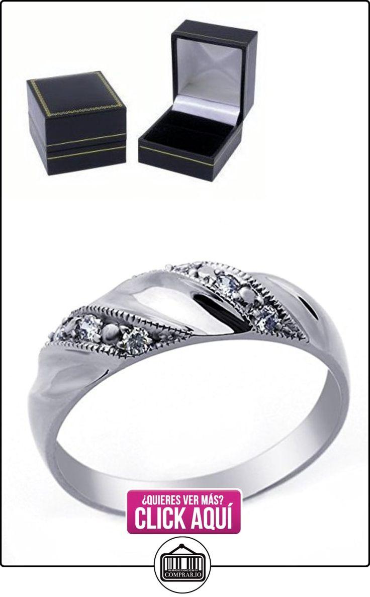 Pequeños Tesoros - Anillo de hombre - Anillo de compromiso y boda de oro 0.1ct Circonita Oro blanco  ✿ Joyas para hombres especiales - lujo ✿ ▬► Ver oferta: http://comprar.io/goto/B00BFXAG00