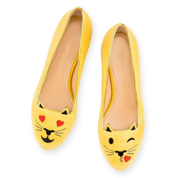 Flirty Kitty flaunts her inner tease with the subtle air kiss and beaming heart-shaped eyes. Let your feet do the flirting with this irresistible pair in mellow yellow velvet.  FLIRTY KITTY|SLIPPER|Charlotte Olympia SHOES