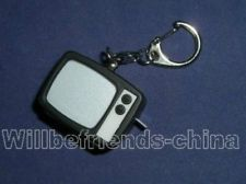 Old-Fashioned Black And White Television Led Flash Static Sound Key Ring Chain