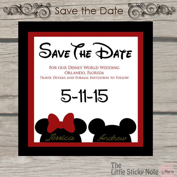 Getting Married at Disney... Your guest will need time to plan... So let them know what day youll be getting married with this cute Save The Date I could customize colors to match your wedding theme and I could also change the characters. Minimum order: 24, price is per card This could be printed on Card Stock, Pearl paper, Linen or Magnet (magnet additional fee) This card could be ordered as a digital file. Please contact me for a price…