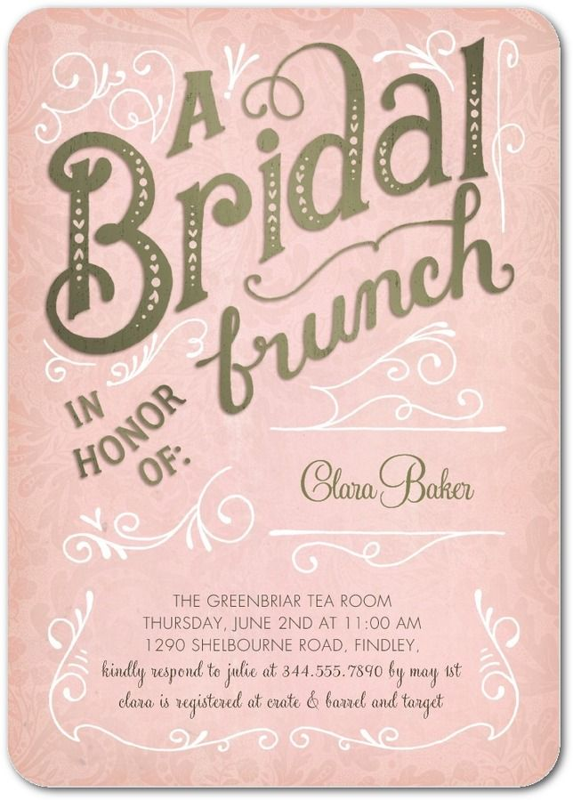 Darling Pattern - Bridal Shower Invitations in Taffy or Seafoam | Petite Alma