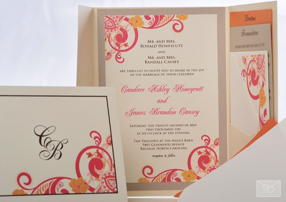 paisley pocket fold invitation