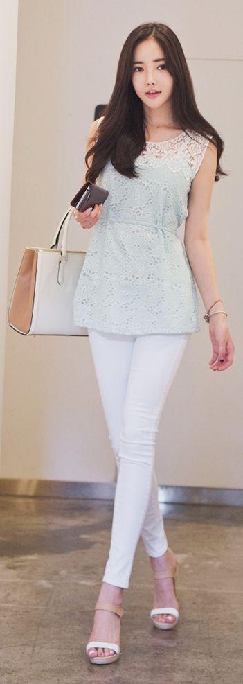 Luxe Asian Korean Women Fashion Pretty enough Mint Blouse