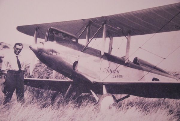 Bert Hinkler,  the pilot who flew from Croydon, England to Darwin, Australia in fifteen and a half days flying his (nameless) Avro Avian aircraft.