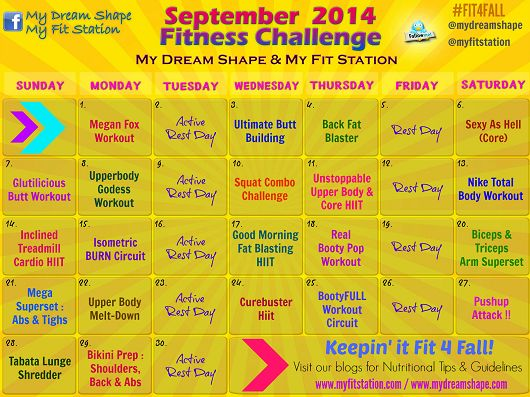 September Fitness Challenge - Workout Calendar via www.myfitstation.com #workout #fitfam
