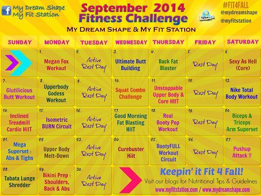 September Fitness Challenge - Workout Calendar via www.myfitstation.com #workout #fitfam