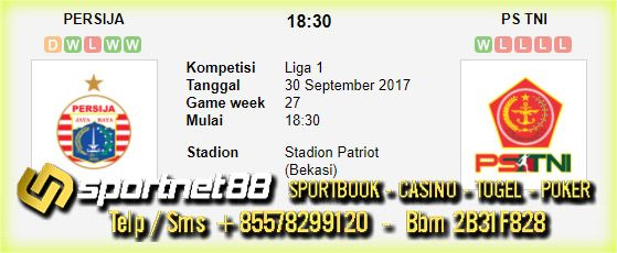 Prediksi Skor Bola Persija vs PS TNI 30 Sep 2017 Liga 1 di Stadion Patriot (Bekasi) pada hari Sabtu jam 18:30 live di TV One