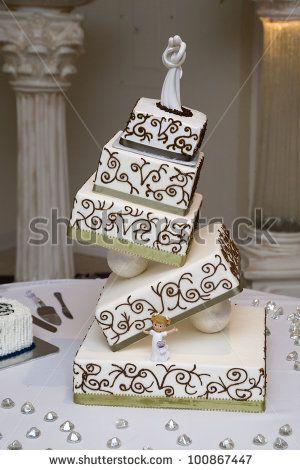 stock photo : wedding cake / modern wedding cake, tilted and slanted.