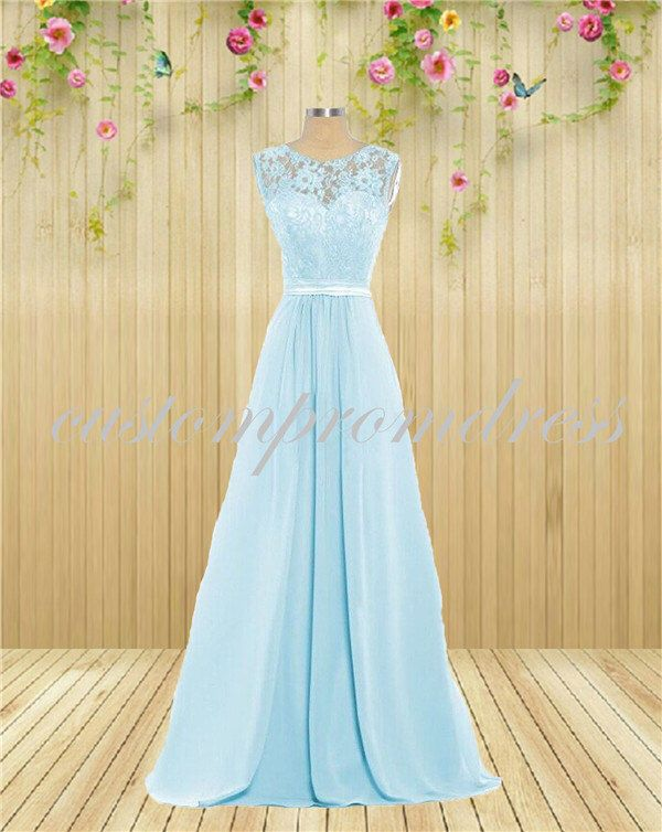 Light blue lace prom dresses long prom dress chiffon prom for Light blue lace wedding dress