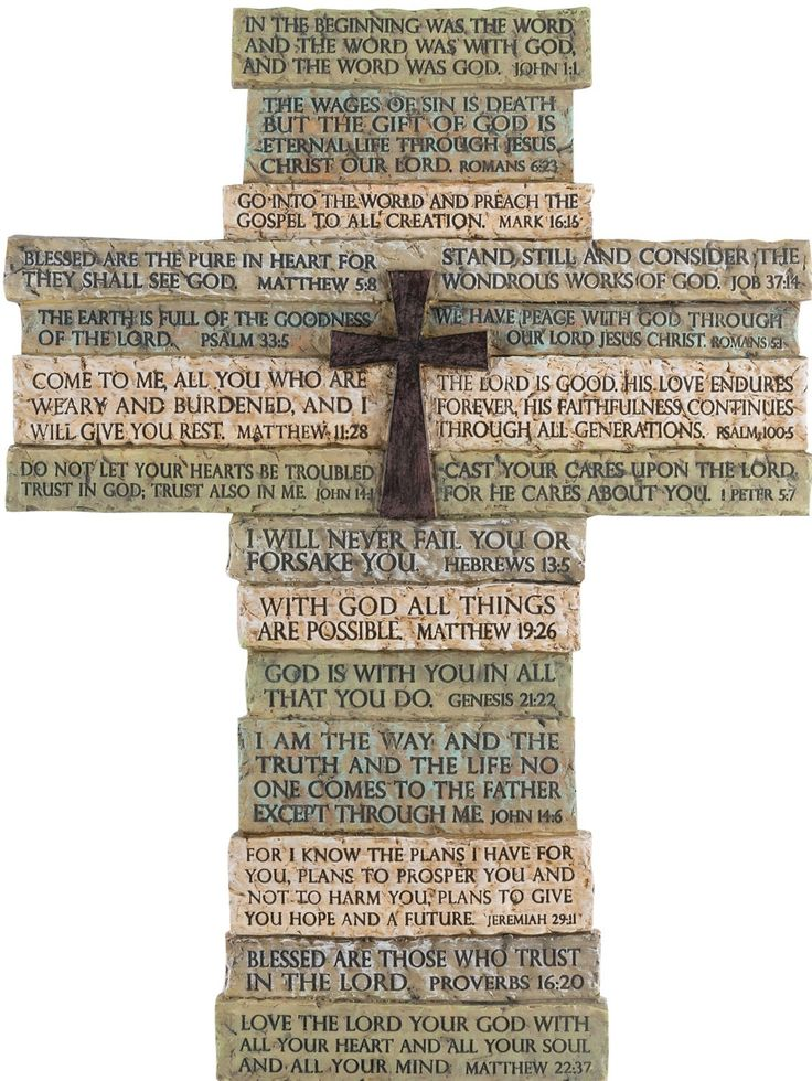 "[""<br>Wall+cross+in+neutral+stone+resin+is+a+collage+of+best-loved+Bible+verses;+14\""+tall+with+the+look+and+feel+of+natural+stone,+and+cross+center+embellishment.+Verses+from+John+1:1,+Romans+6:23,+Mark+16:15,+Job+37:14,+Matthew+5:8,+Psalm+33:5,+Romans+5:1,+Psalm+100:5,+Matthew+11:28,+I+Peter+5:7;,+John+14:1,+Hebrews+13:5,+Matthew+19:26,+Genesis+21:22,+John+14:6,+Jeremiah+29:11,+Proverbs+16:20,+Matthew+22:37.""] $39.99"