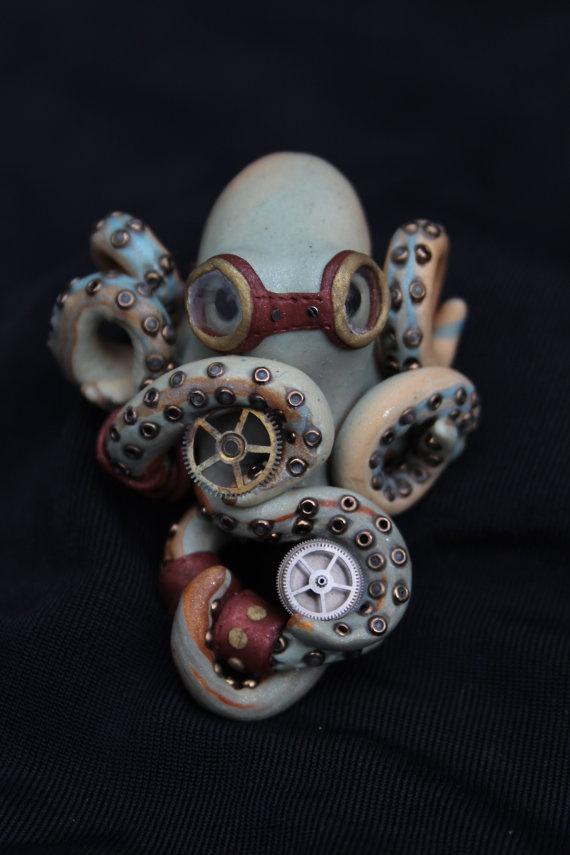 Steam punk octopus. cute for my desk in my art studio
