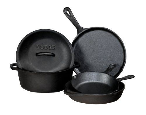 Lodge L5HS3 5-Piece Pre-Seasoned Cast-Iron Cookware Set