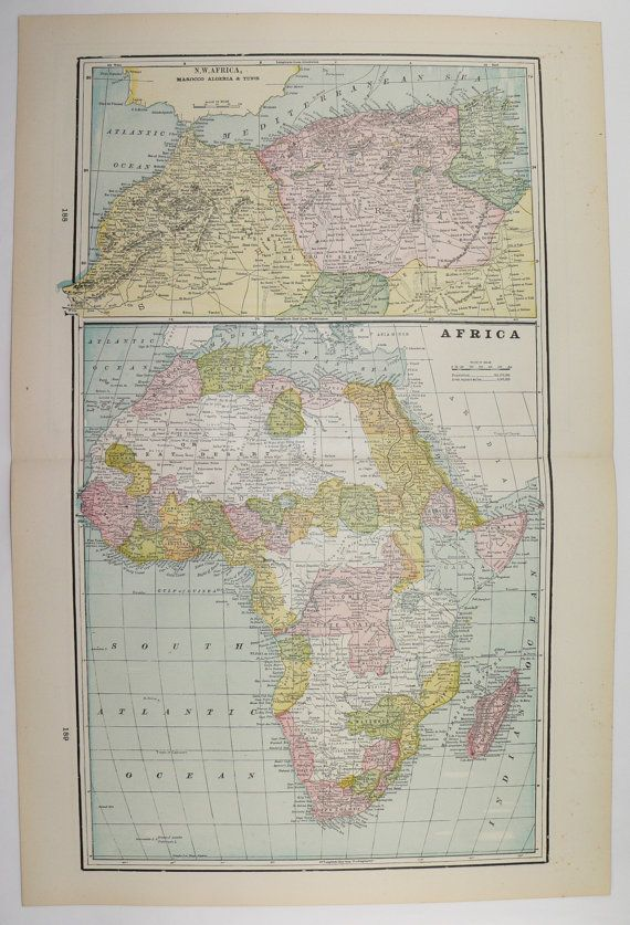 1894 Antique Map of Africa, Oceanica Map, Original Vintage Art Map, African Wall Art, Polynesia Map, Christmas Gift for Traveler available from OldMapsandPrints on Etsy