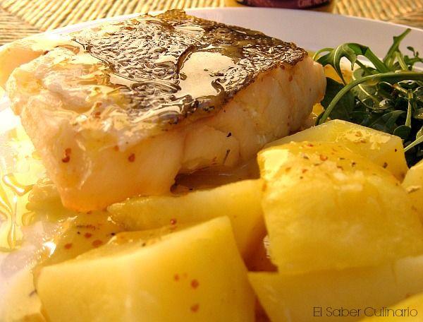 Bacalao al horno con salsa de mostaza al vino blanco