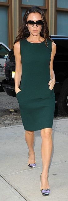 Who made  Victoria Beckham's bow pumps, sunglasses and green dress that she wore in New York on November 17, 2010?