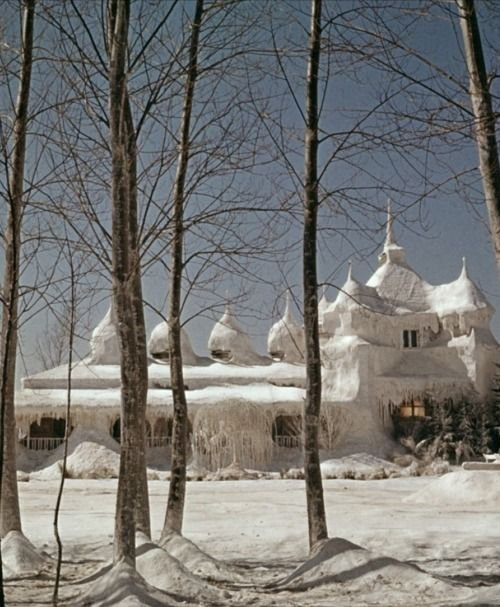 """Dr. Zhivago's """"ice-palace"""" (1965, dir. David Lean)  the wolves were howling while he was writing poetry"""