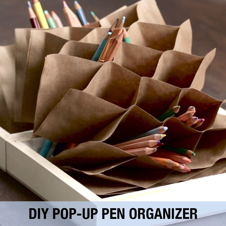 Keep art and office supplies neatly stowed with this DIY organizer.