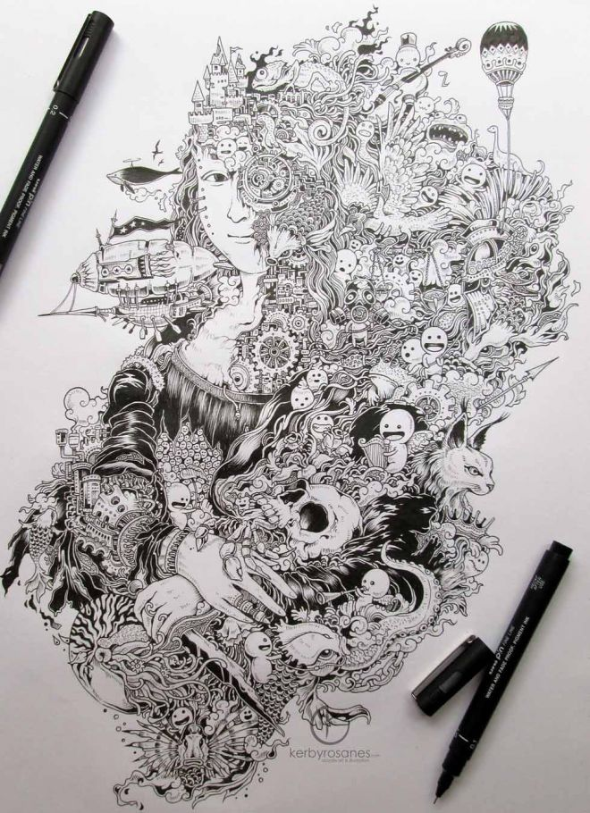 Woman Mural Kerby Rosanes Doodle Coloring Pages Colouring