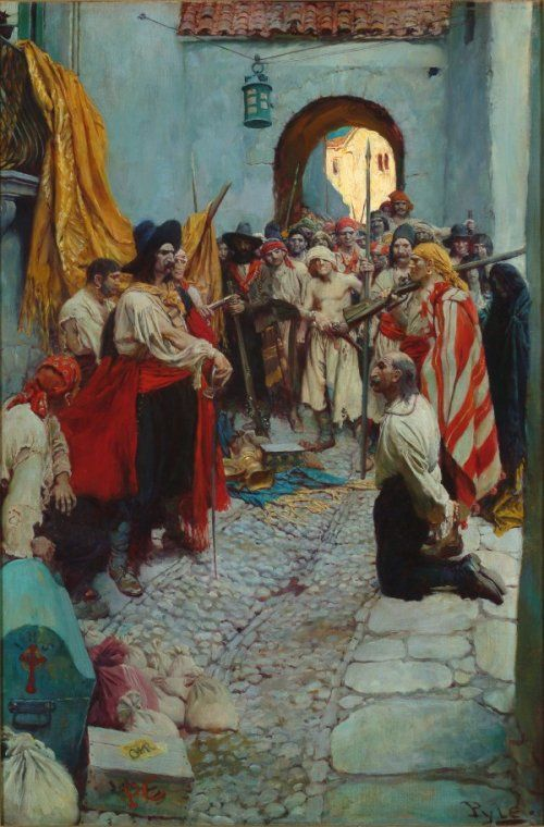 Howard Pyle. (1905) Extorting tribute from the citizens