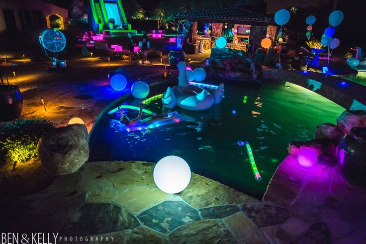 Glow in dark 40th birthday party ideas google search - Glow in the dark swimming pool toys ...