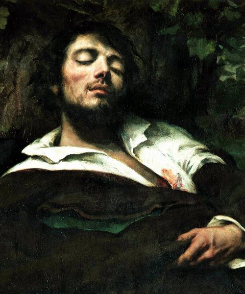vlajean: unfair faces in art history - no.14 gustave courbet / the wounded man (self-portrait), detail