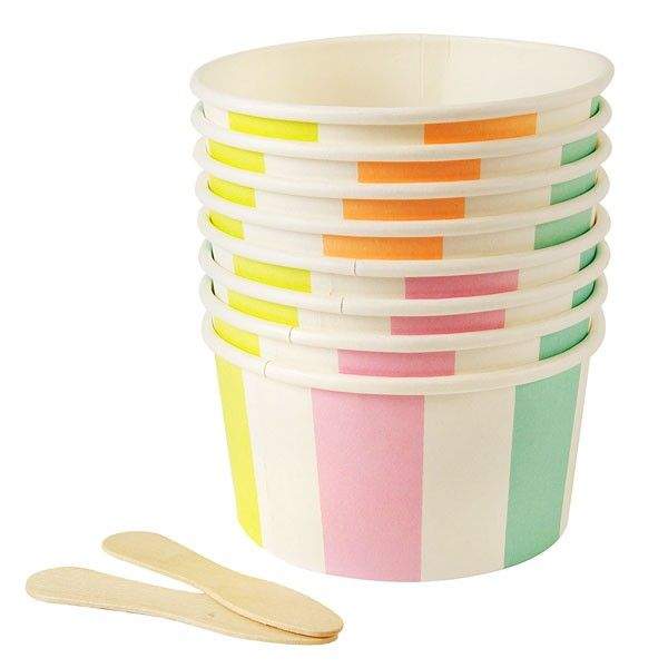 8 Pastel Striped Ice Cream & Treat Cups