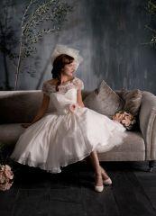 retro 50´s 60 ´s krátké bílé krajkové svatební šaty - plesové šaty, svatební šaty, společenský salón