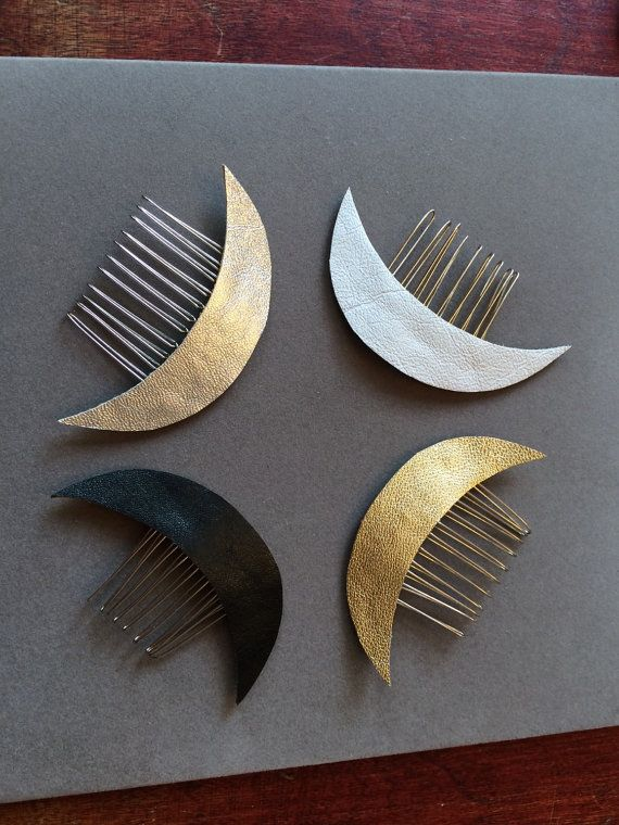 White Leather Crescent Moon Celestial hair comb