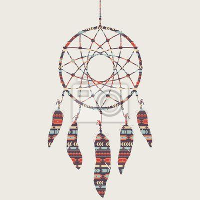 Sticker Vector illustratie van de dromenvanger met etnische patroon