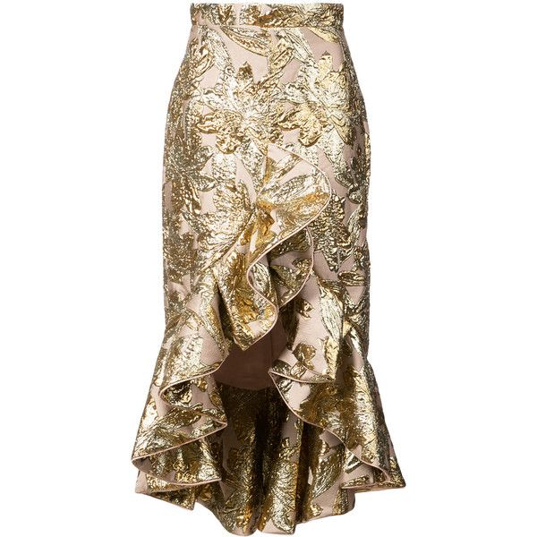 Johanna Ortiz Indian ruffled skirt found on Polyvore featuring skirts, metallic, frilled skirt, frilly skirt, flounce skirt, ruffle skirt and indian skirts